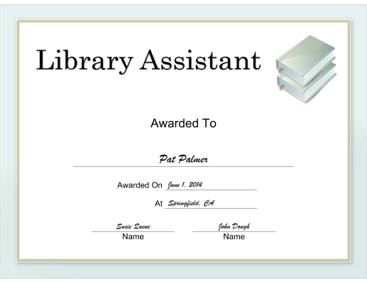 Library Assistant certificate
