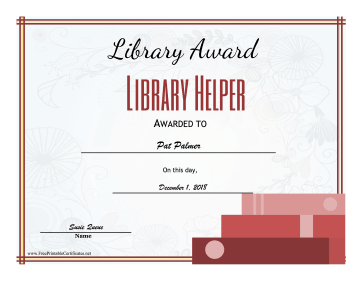 Library Award Library Helper certificate