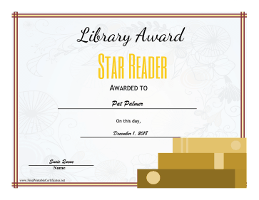 Library Award Star Reader certificate
