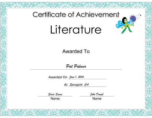Literature Achievement certificate