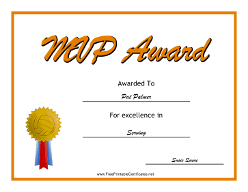 MVP Award Volleyball certificate