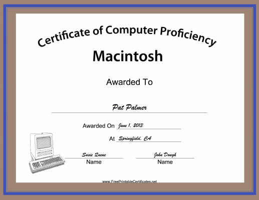 Macintosh Computer Proficiency certificate