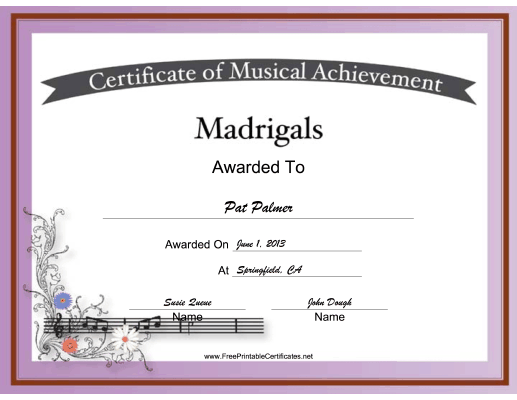 Madrigals Vocal Music certificate