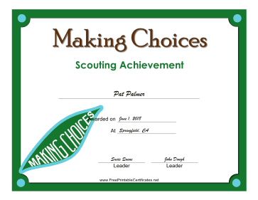 Making Choices Badge certificate