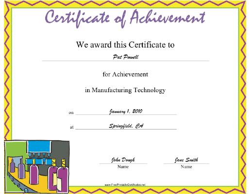 Manufacturing Technology certificate