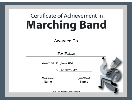 Marching Band Instrumental Music certificate