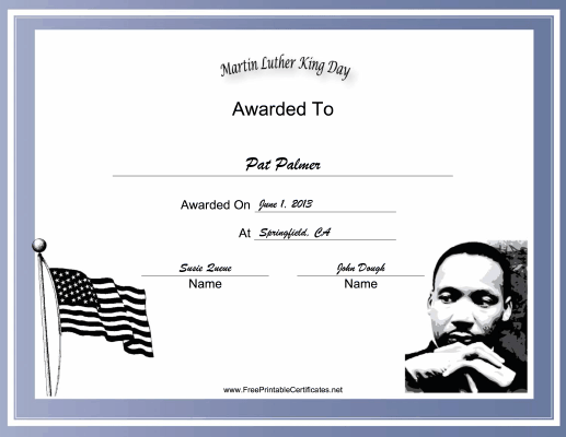 Martin Luther King Day Holiday certificate