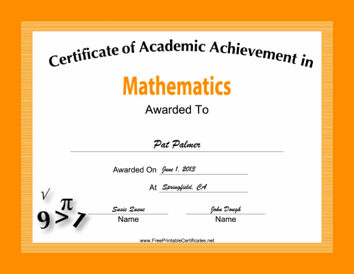 Mathematics Academic certificate
