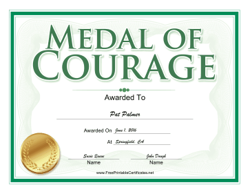 Medal of Courage Award certificate