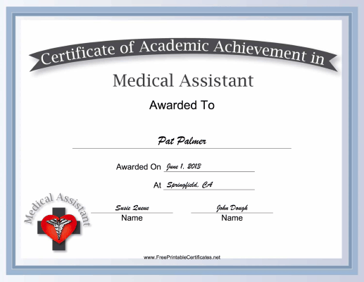 Medical Assistant Academic certificate