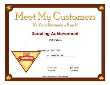 Meet My Customers Badge certificate