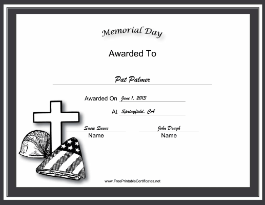 Memorial Day Holiday certificate