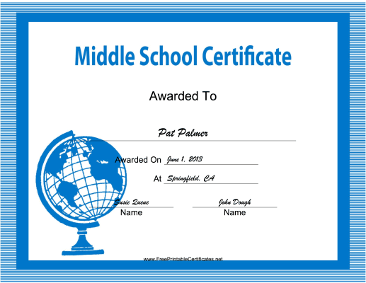 Middle School certificate
