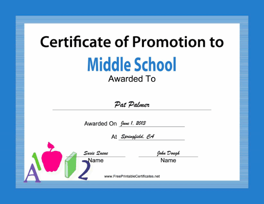 Middle School Promotion certificate