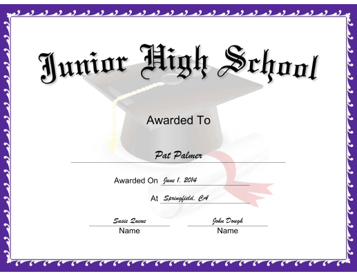 Mortarboard Junior High School certificate
