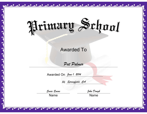 Mortarboard Primary School certificate
