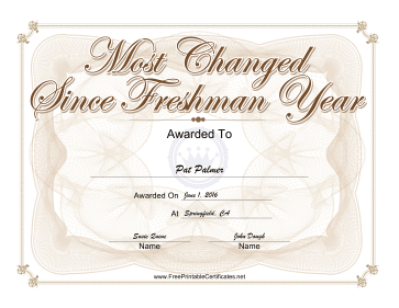 Most Changed Since Freshman Year Yearbook certificate