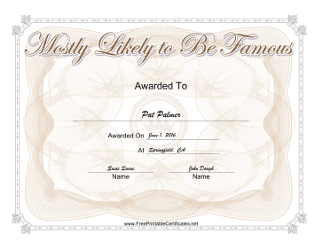 Most Likely To Be Famous Yearbook certificate