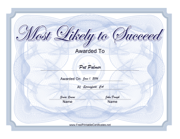 Most Likely To Succeed certificate