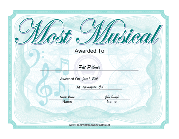 Most Musical Yearbook certificate
