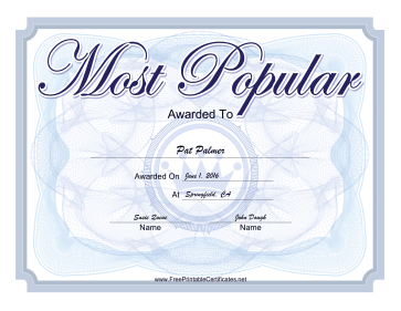 Most Popular Yearbook certificate