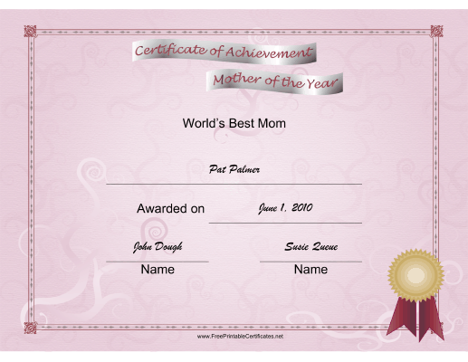 Mother of the Year certificate