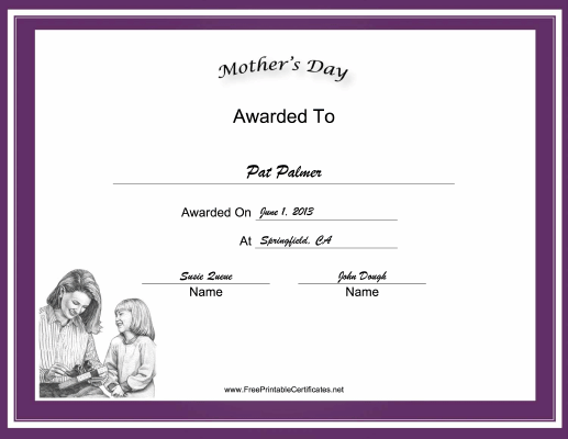 Mothers Day Holiday certificate