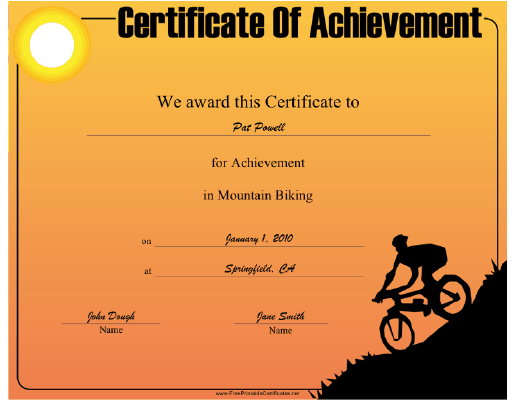 Mountain Biking certificate