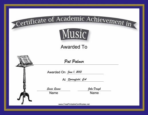 Music Academic certificate