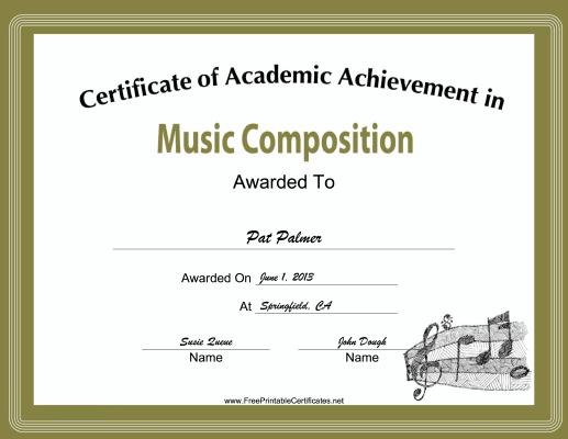 Music Composition Academic certificate