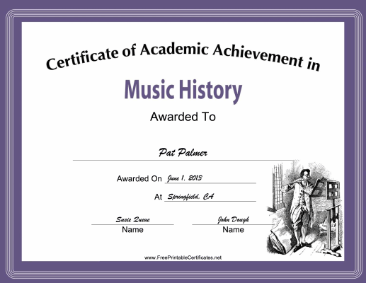 Music History Academic certificate