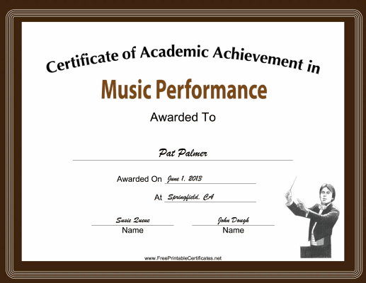 Music Performance Academic certificate