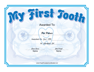 My First Tooth Certificate Blue certificate
