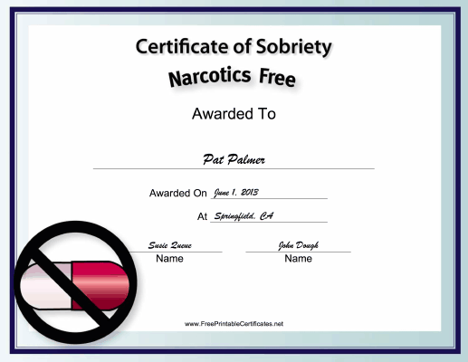 Narcotics-Free certificate