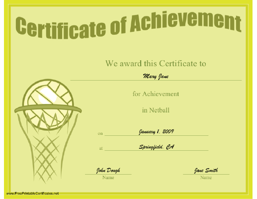 Achievement in Netball certificate