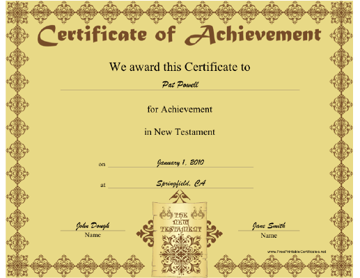 New Testament certificate