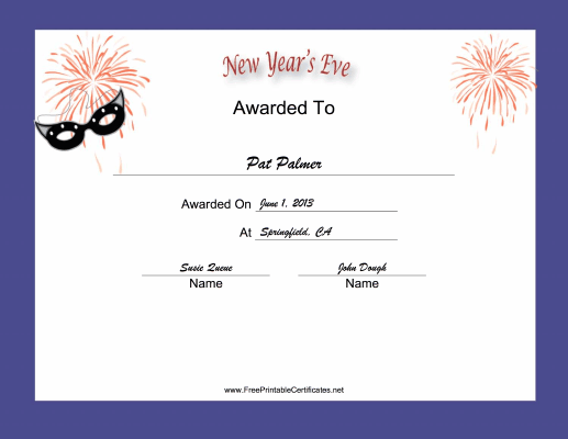 New Years Eve Holiday certificate
