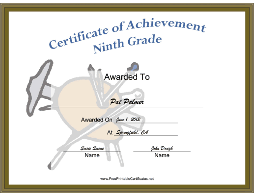 Ninth Grade Achievement certificate