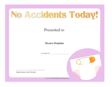 No Accidents Today certificate