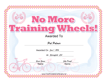 No Training Wheels Bicycle Certificate Pink certificate