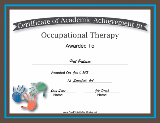 Occupational Therapy Academic certificate