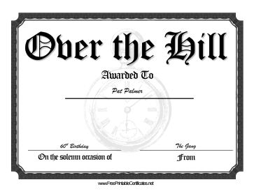 Over The Hill certificate