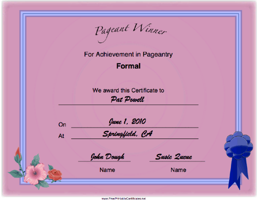 Pageant Formal Achievement certificate