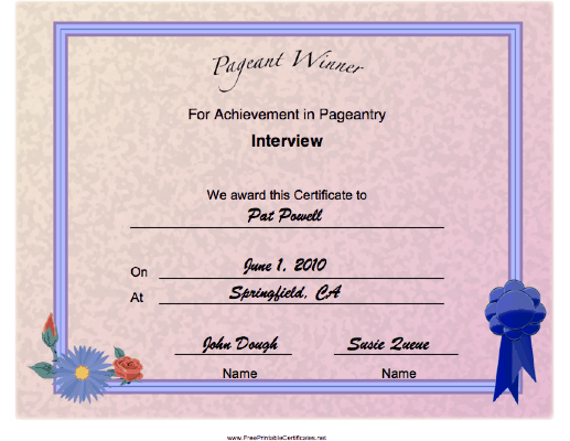 Pageant Interview Achievement certificate