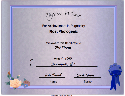 Pageant Most Photogenic Achievement certificate