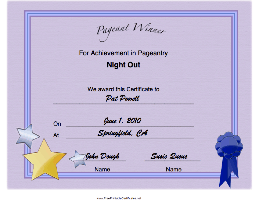 Pageant Night Out Achievement certificate