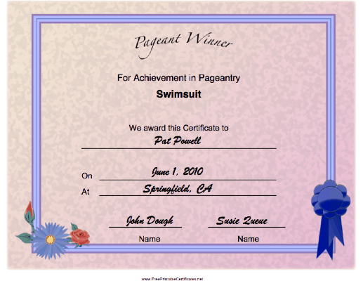 Pageant Swimsuit Achievement certificate