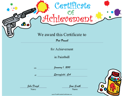 Paintball certificate