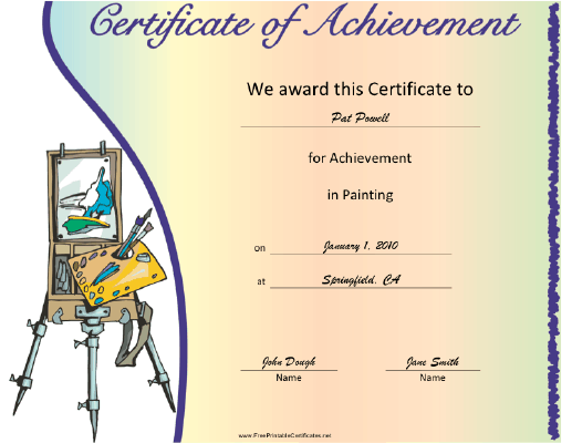 Painting certificate