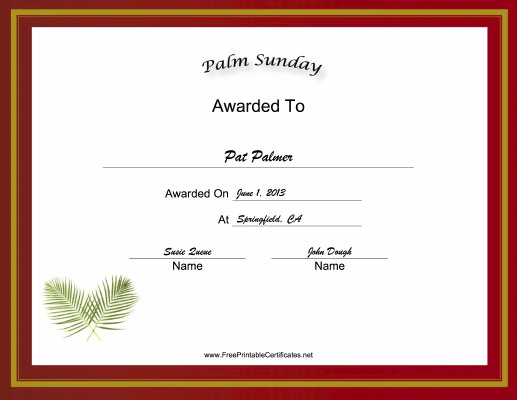 Palm Sunday Holiday certificate